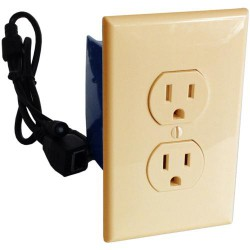 Self Recording Battery Powered Outlet Hidden Spy Nanny Camera Beige
